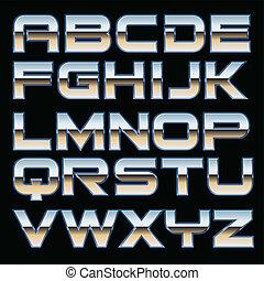 vektor, metal, font
