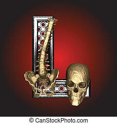 vektor, metall, skelett, figur