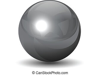 vektor, metallisch, chrom, kugelförmig