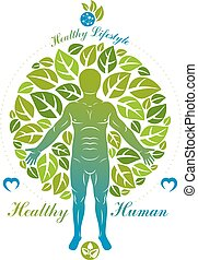 vektor, metaphor., wellness, atléta, körülvett, fa, leaves., ábra, emberi, zöld, összhang