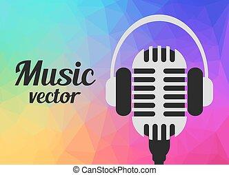 vektor, mikrofon, begrepp, musik, hörlurar
