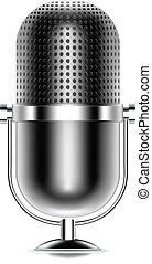vektor, mikrophon, ikone
