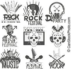 vektor, mikrophone, stil, satz, logos, weinlese, kopfhörer, emblems., freigestellt, oder, thema, abzeichen, musik, gitarren, monochrom, aufkleber, schädel, banner