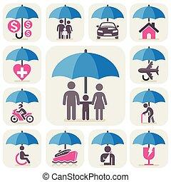vektor, minden, symbols., esernyő, illustration., oltalom,...