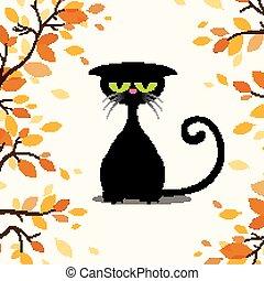 vektor, mindenszentek napjának előestéje, macska