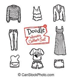 vektor, mode, ikonen, klotter, set., kollektion, hand, objekt, oavgjord, kläder, kvinnor