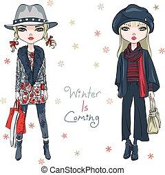 vektor, mode, piger, vinter beklæder