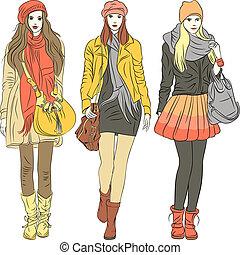 vektor, mode, stilvoll, mädels, in, warm, kleidung