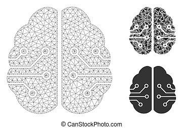 vektor, modell, hjärna, triangel, maska, tråd, mosaik, ...