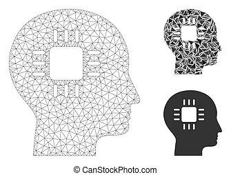 vektor, modell, hjärna, triangel, maska, tråd, mosaik, ram, ...