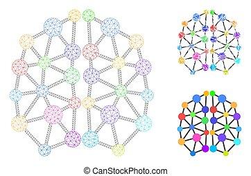 vektor, modell, konstgjort, hjärna, triangel, maska, 2, ...