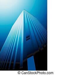 vektor, modern, felhőkarcoló