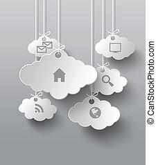 vektor, moln, ansökan, grafik, ikonen