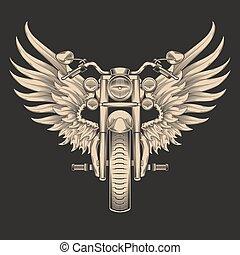 vektor, monochrom, wings., ábra, motorkerékpár