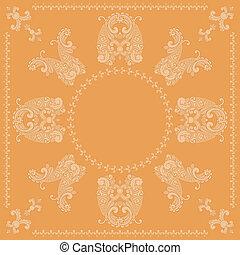 vektor, motívum, paisley, derékszögben, narancs