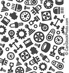 vektor, motívum, seamless, háttér., alkatrészek, kímél, autó, autó