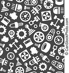 vektor, motívum, seamless, sötét, háttér., alkatrészek, kímél, autó, autó