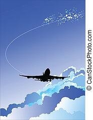 vektor, motorflugzeug, illustrat, landung