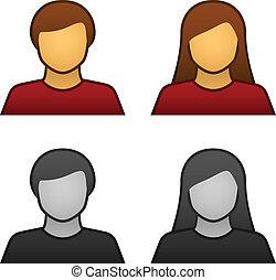 vektor, mužský, samičí, avatar, ikona
