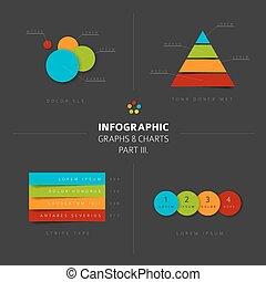 vektor, námořní mapa, 3, dát, infographic, graf, design, byt