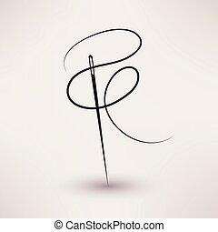 vektor, nål, tråd, ikon