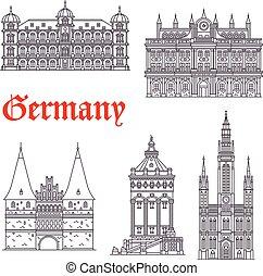 vektor, németország, historic épület, ikonok, építészet