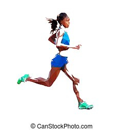 vektor, nő, futás, kilátás, polygonal, lejtő, ábra