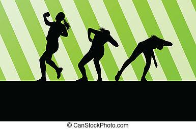 vektor, nő, lövés, atlétikai, fogalom, háttér, dobás