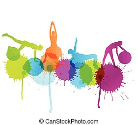 vektor, nő, szín, labda, fogalom, loccsan, háttér, ...