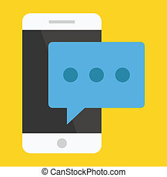 vektor, nachricht, smartphone, ikone