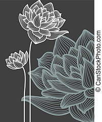 vektor, nad, květiny, temný grafické pozadí