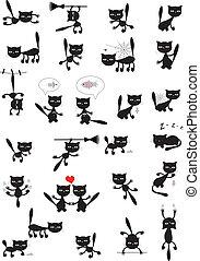 vektor, nagy, állhatatos, fekete, cats.