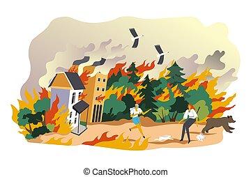 vektor, natürlich, unglück, brennender, notfall, wälder