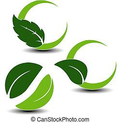 vektor, naturlig, symboler, med, blad