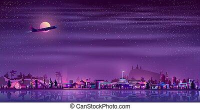 vektor, neon, fiskare, by, om natten, bygd