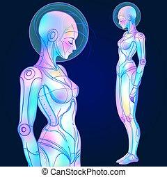 vektor, neon, futurismus, retro, porträt, colors., style., frau, roboter, android, abbildung, glühen, hell, cyborg