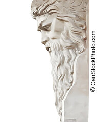 vektor, neptun, osamocený, socha, white.