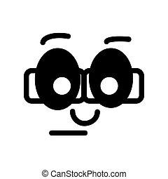 vektor, nerd, smiley., emoticon.