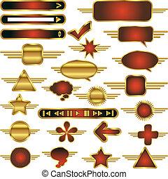 vektor, netz- design, elemente, sammlung, mit, gold, metall, trimmen