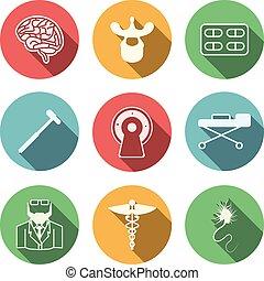 vektor, neurologi, färgad, ikonen