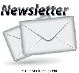 vektor, newsletter, ikona