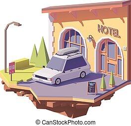 vektor, niedrig, poly, auto, und, hotel