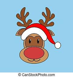 vektor, nikolausmuetze, hintergrund, weihnachten, rentier, ...