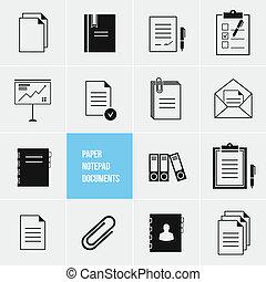 vektor, notizblock, papier, dokumente, ikone