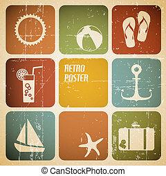 vektor, nyár, elkészített, poszter, ikonok