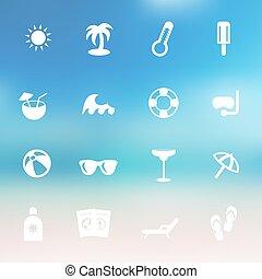 vektor, nyár, ikon, állhatatos