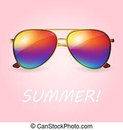 vektor, nyár, színezett, napszemüveg, gyakorlatias, ábra