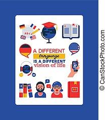 vektor, nyelvek, szótár, értelmezés, technológia, nyelv, mozgatható, földgolyó, process., betű, ábra, külföldi, typography., fordítás, tanulás, zászlók, karikatúra
