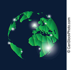 vektor, nymodig, globe., illustration.