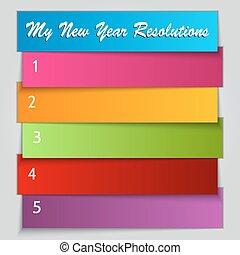 vektor, nytt år, upplösning, lista, mall